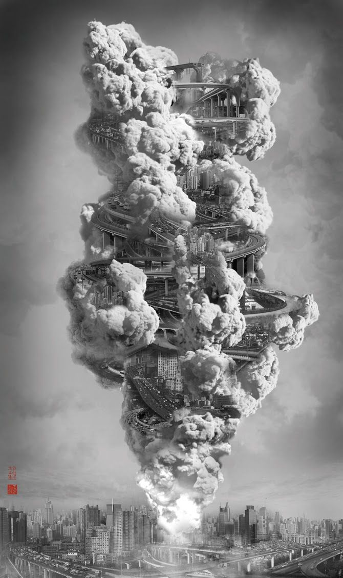 From Artist Yang Yongliang's series Heavenly City