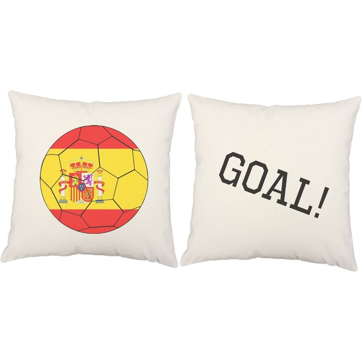 Spanish Flag Soccer Ball Throw Pillows
