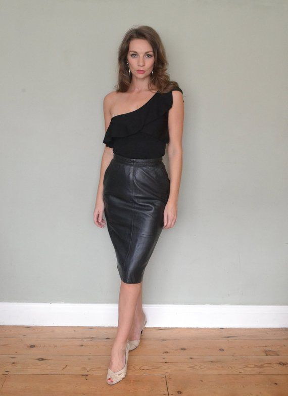 baa60a391deb Vintage Butter Soft Black Napa Leather 50's 80's High Waist Pencil Skirt  Size 8/Small in 2019 | Costumes | Leather, Black leather pencil skirt, Napa  leather