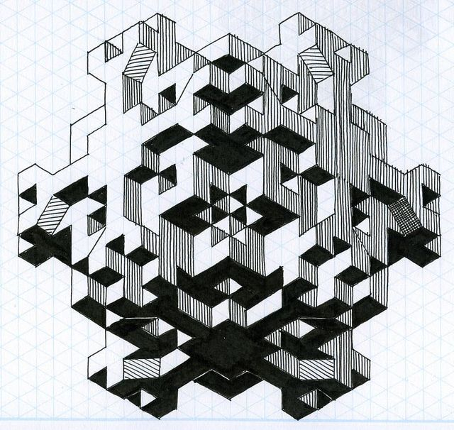 fun with isometric paper 03 by paul heaston, via Flickr