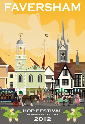 Faversham Hop Festival. This was the second poster drawn to sell at the hop festival. A new one for 2013 is on its way!