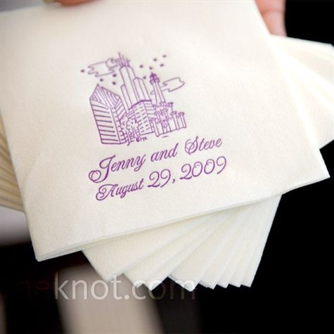 white and purple cocktail napkins specially made with their names, wedding date, and an illustration of Chicago by Favors You Keep.