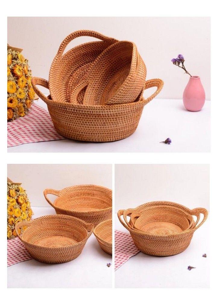 3 Vietnam Handmade Round Basket Woven Basket With Handle Rustic Basket Set Of 3 In 2020 Rustic Baskets Round Basket Basket