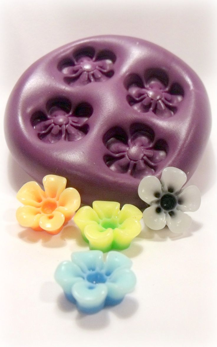 Kawaii open flower mould/ mold- flexible silicone push mold / craft/ dessert/ mini food / soap mold/ resin/jewelry and more.