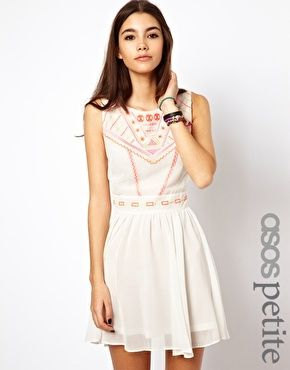 Image 1 of ASOS PETITE Exclusive Skater Dress With Geo-Tribal Embroidery And Cross Back