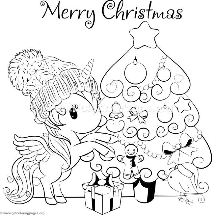 Cartoon Christmas Tree and Unicorn Coloring Pages Unicorn