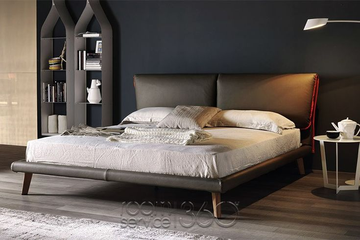 Adam Italian Leather Bed by Gino Carollo for Cattelan Italia