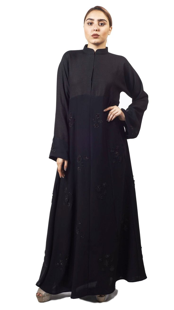 From zebra stripes to leopard spots and paw prints, this season is all about unleashing your wild side!! Want to feel a part of fashion yet stay trendy....? No fashion enthusiast can get by without having one of these abayas. Have a look at our wildabaya Collection.  TheBlack Animal Pattern Abaya is a closed abaya style,with high neck collar. The fabric used is black linen on the top and bottom half is made with Nada fabric and hand embroidered. This is a simple yet trendy design for all…