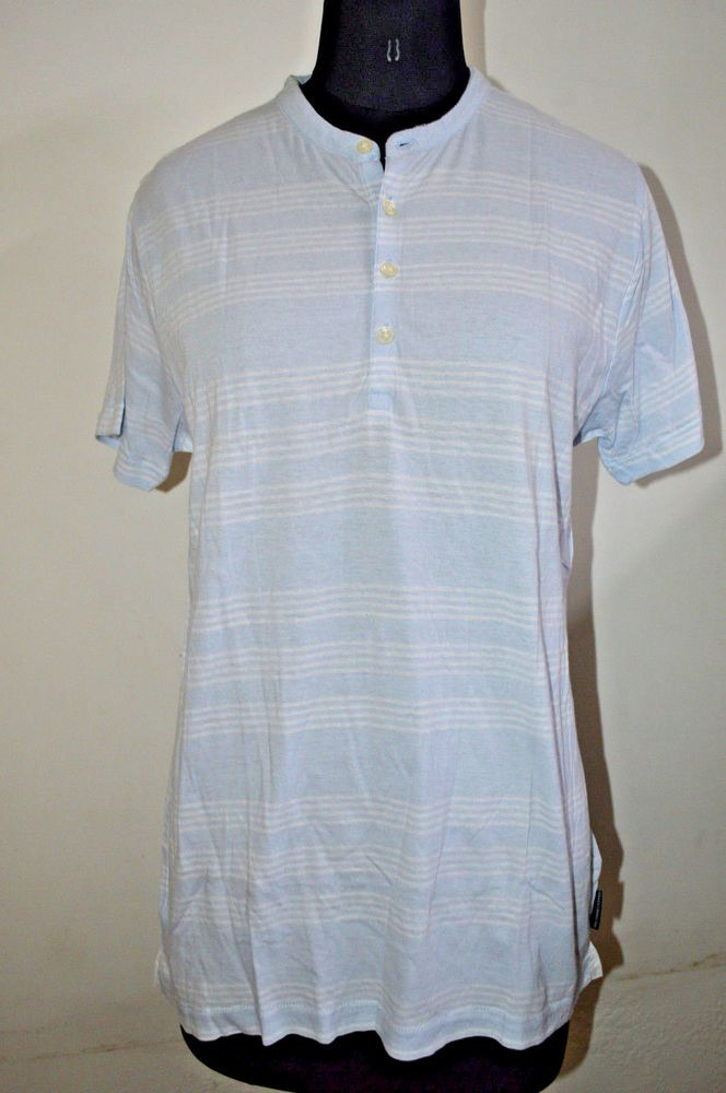 763b8f28e17 French Connection FCUK Strip Blue Mens T-shirt Size M  fashion  clothing
