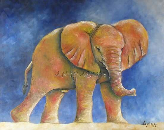 Colourful Baby Elephant - knife & oil (final painting for 2015)