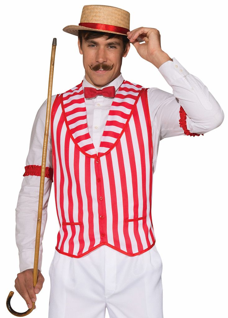 Barber Shop Quartet Vest - red and white striped vest. Standard size fits up to a 42 chest size and XL fits up to a 48 chest size.