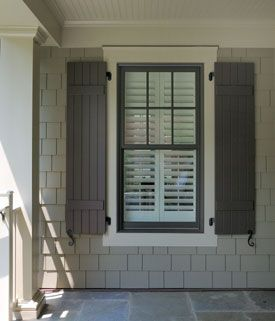 Brown window and shutter, cream? trim, taupe siding | colors for ginny ...