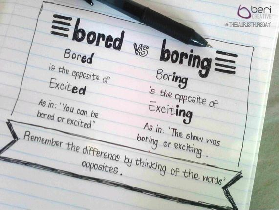 And here's your #ThesaurusThursday tip of the week, courtesy of our #WordWizard - Bored vs Boring. #Sharing is caring!
