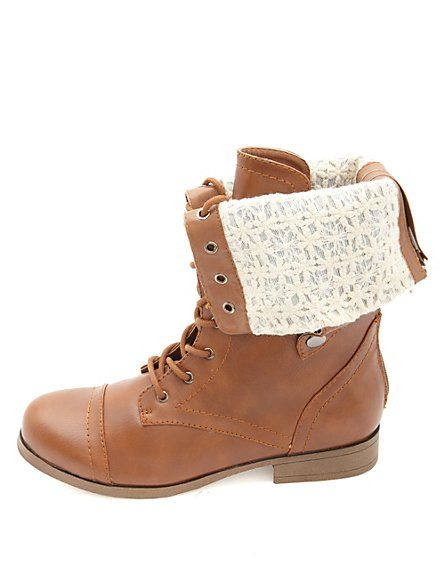 Lace-Lined Fold-Over Combat Boots: Charlotte Russe