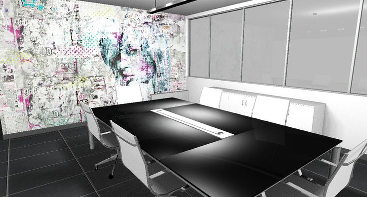 Modern interior design - Meeting room, table with black glass top and chromed metal frame, white melamine low cabinet, mesh chairs with metal structure, particular wall decorated with glamora wallpaper, black ceramic floor - Sala riunioni, tavolo con piano in vetro nero e struttura cromata, mobile basso in melaminico bianco, sedie in rete con struttura in metallo, parete decorata con carta da parati glamora, pavimento in ceramica nera