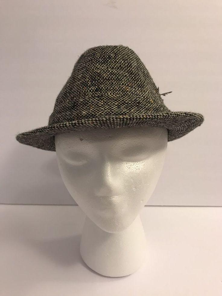 Vtg Mens ROBBIE Fedora Hat LL BEAN Size 7 Wool England Cap Gray Tweed Feather #LLBean #Fedora
