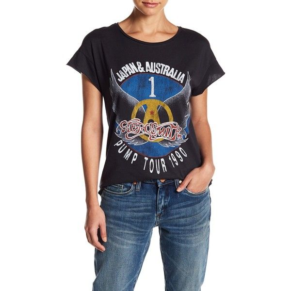 JUNKFOOD Aerosmith 90 Tour Tee ($20) ❤ liked on Polyvore featuring tops, t-shirts, jtblk, short sleeve tops, crew neck tops, short sleeve crew neck tee, crew neck tee and print tees