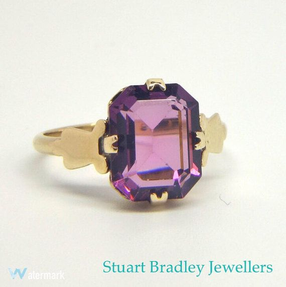 Victorian Emerald Cut Amethyst Ring  Size J by SBradleyJewellers