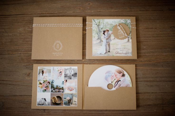 Adorable design using white stamped on kraft and photos for this CD/favor! From die hochzeitsfotografen