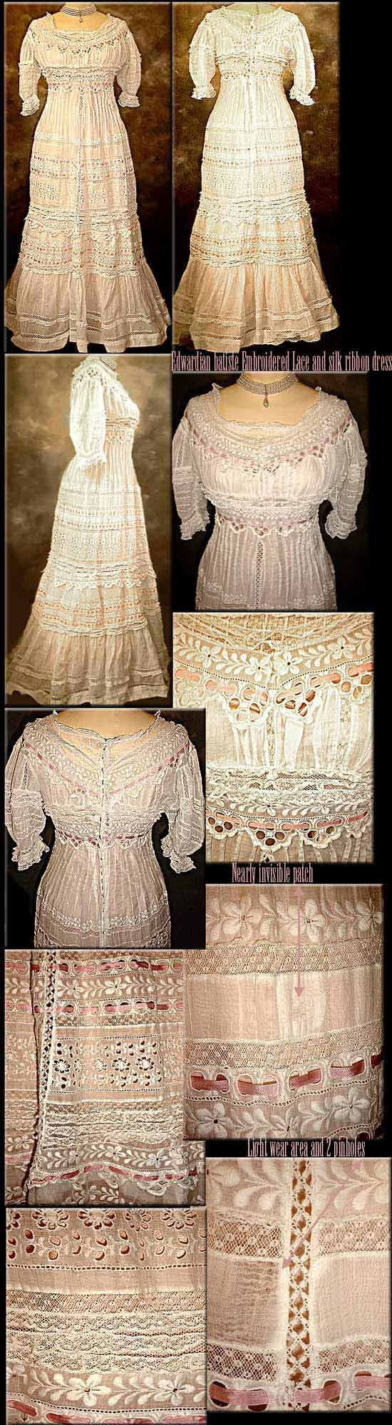 Large dress Princess EMBROIDERY and Ribbon SILK 1914 1912- Edwardian... great use of lace strips