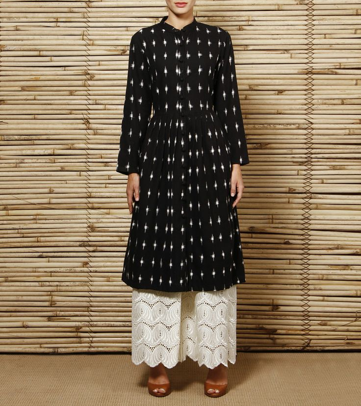 Black Ikat Cotton Kurta