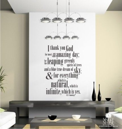Ee Cummings Thank You God Wall Decals Quote