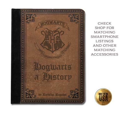 Leather tablet case (ipad 2 3 4, air 1 2, mini 1 2, Kindle Fire, paperwhite) - Hogwarts a History Harry Potter vintage book