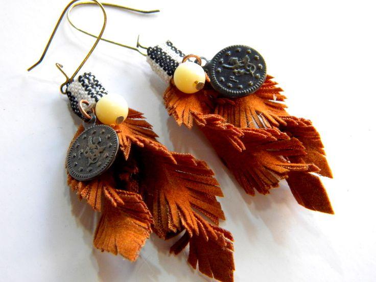 bohemian handmade leather earings