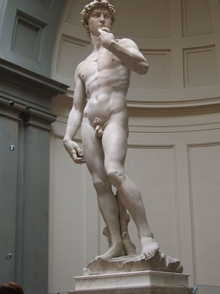 David is a masterpiece of Renaissance sculpture created between 1501 & 1504, by the Italian artist Michelangelo. A male nude representing the Biblical hero David was sculpted in marble. The statue is currently housed in the Galleria dell'Accademia, Florence