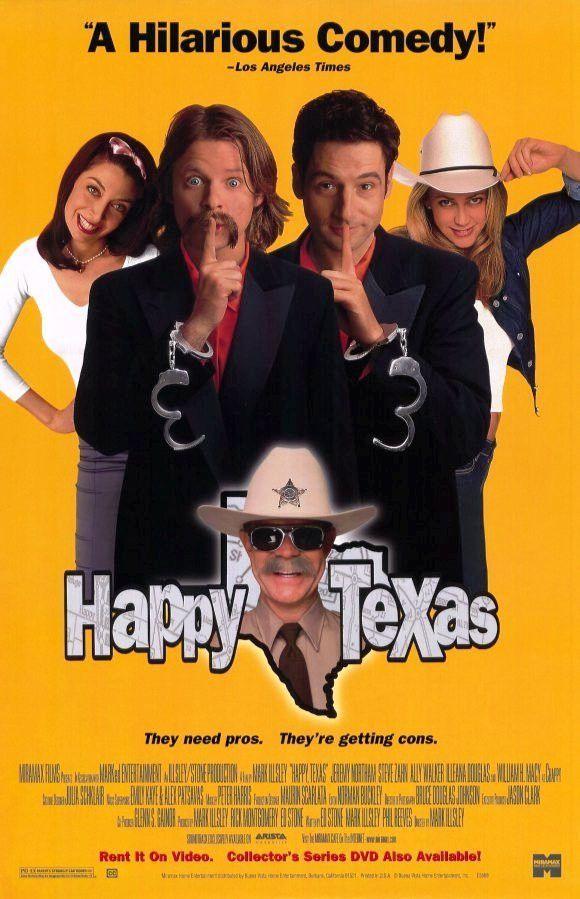 Happy Texas Movie Poster 27x40 Used Tim Bagley, MC Gainey, Michael Hitchcock, Kiva Lawrence, Paul Dooley, Jeremy Northam, Mo Gaffney, Illeana Douglas, Ron Perlman, William H Macy, Scarlett Pomers, Steve Zahn, Rance Howard, Ally Walker, David Shackelford