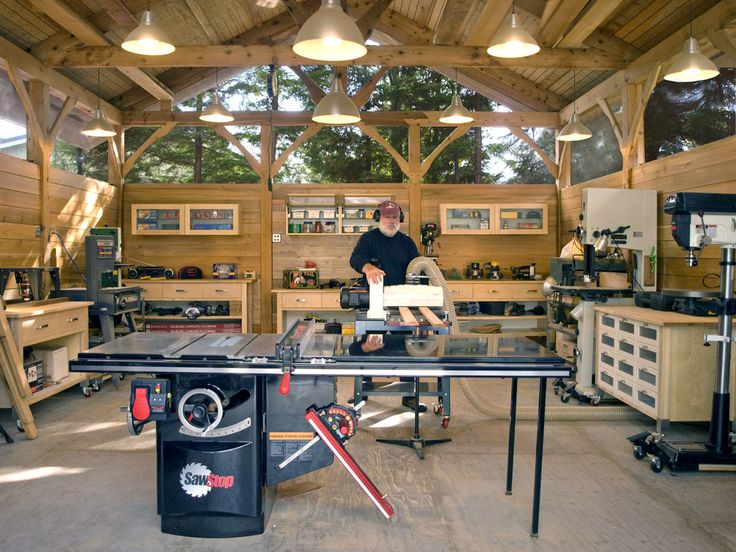 Interior shot of my 20 x 32 workshop.  It is still in the getting organized stage.  I still have to locate most of the tools in the shop.  Only the table saw is in its final location at this point.  Also in the process of moving all the dust collection machines in separate building outside of shop. - CLICK TO ENLARGE