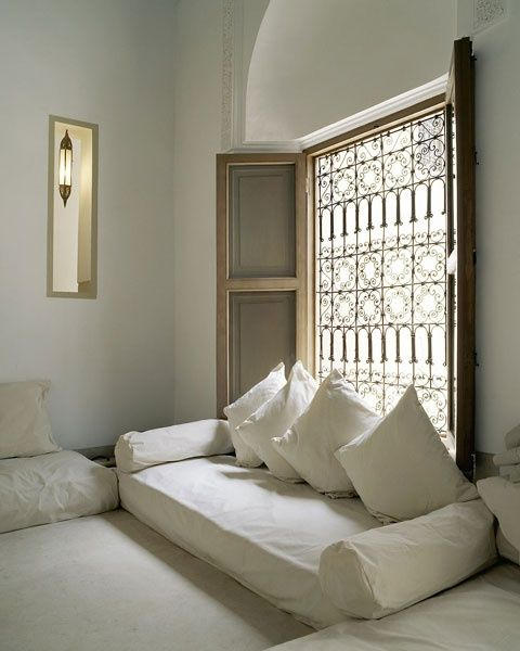 Loving this feel- alternate to blinds for the French doors as a patterned screen? or curtain panel?