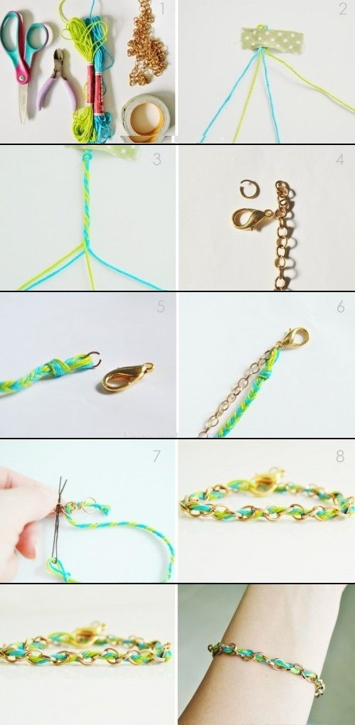 DIY Colorful Bracelet Of A Chain And String