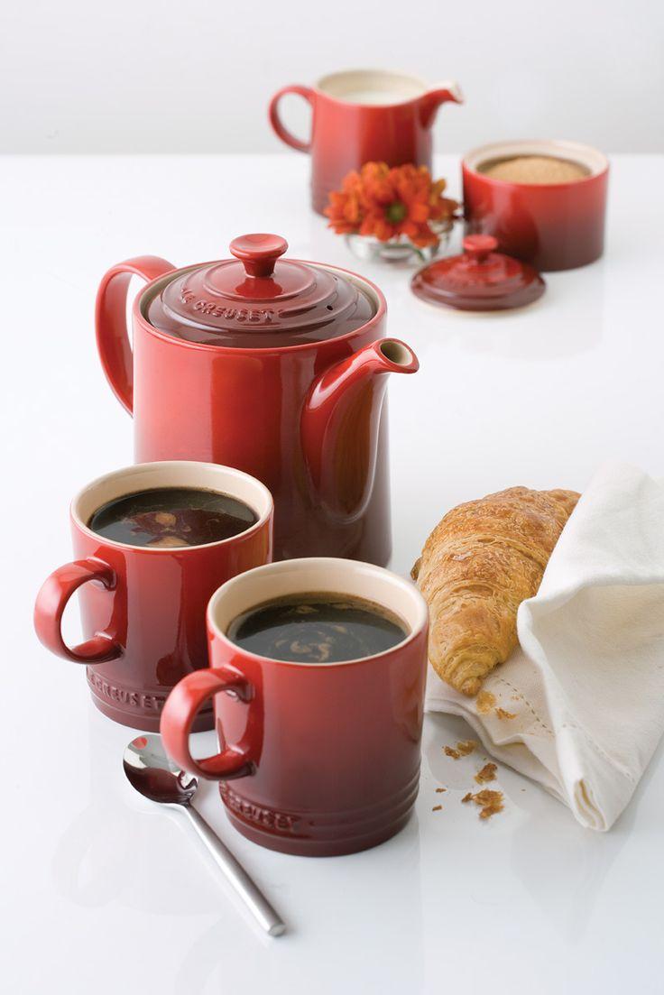 Rusic glazed Le Creuset coffee pot and mugs