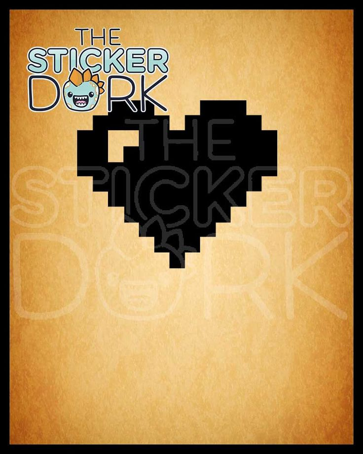 8 bit heart vinyl decal by stickerdork on etsy