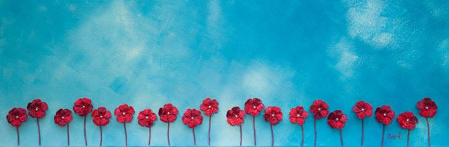 Wire Art on canvas: 20 red wire flowers against a painted blue sky by Sarah Jansma