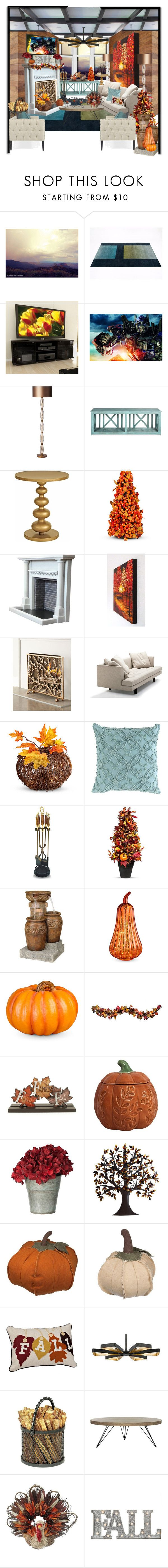"""fall house"" by dixiemartel ❤ liked on Polyvore featuring Umbra, CorLiving, Heathfield & Co., Redford House, Improvements, Bensen, Pine Cone Hill, Vagabond House, Fountain and Bernhardt"