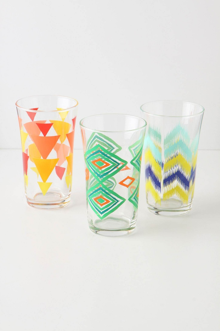 Treading Water GlassesKitchens, Glasses Anthropologie, Tread Water, Chevron Pattern, Anthropologie Glasses, Painting Glasses, Anthropologie Com, Products, Water Glasses