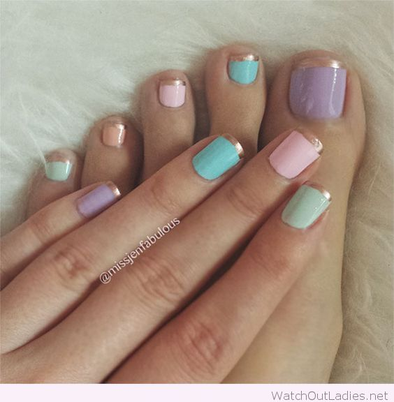 Pastel pedicure design                                                                                                                                                     More