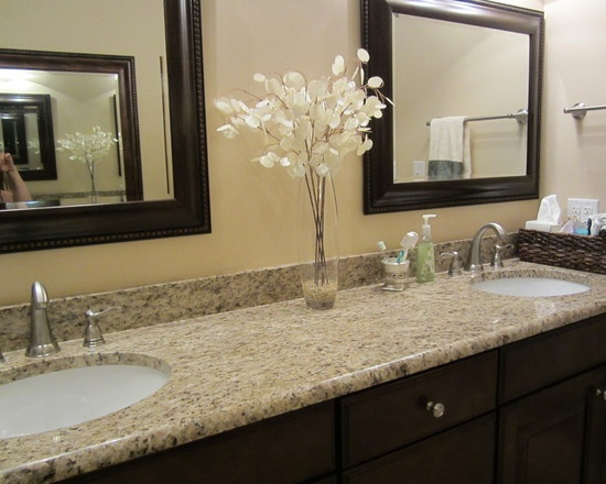 Upstairs Guest Bathroom Giallo Ornamental Granite W Dark Stain For The Home Countertops