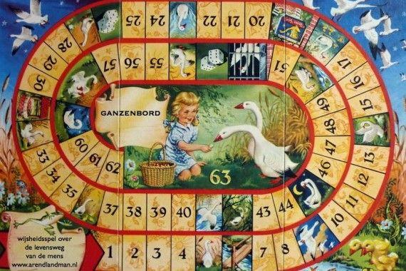Ganzenbord: wijsheidsspel waarin de levensweg van de mens in vele symbolen wordt verbeeld. De mens gaat de reis met een geleidevogel: de gans. - ARENDLANDMAN.NL | ARENDLANDMAN.NL
