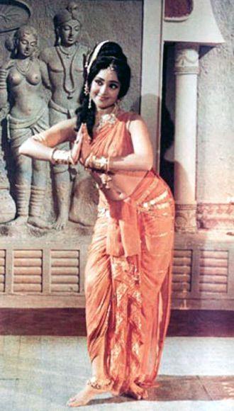Vyjayanthimala in and as Court Dancer Amrapali (1966, Dir: Lekh Tandon), based on Ancient Indian Magadha Empire (6th century BC)