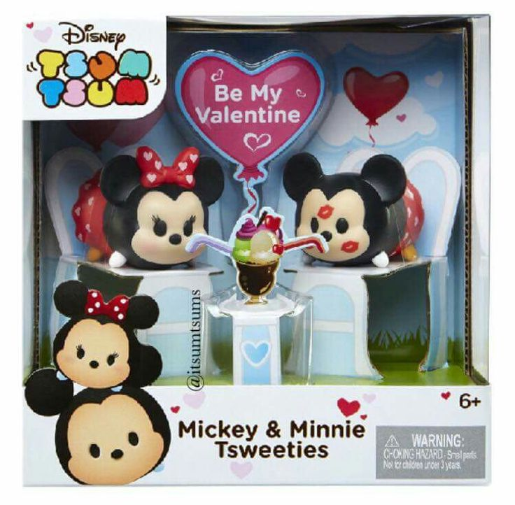Valentine's Day Mickey and Minnie Kissing Couple Vinyl Tsum Tsum Toy Set