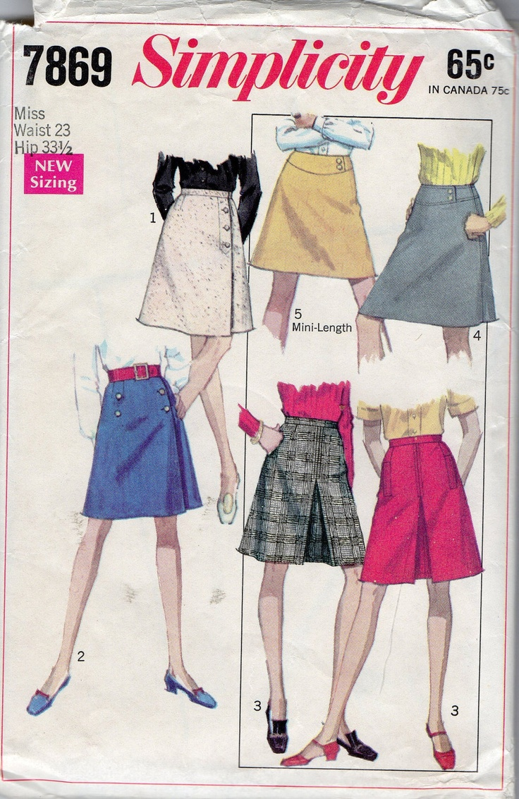 Simplicity 7869 1960s  Misses Front Wrap Skirt Pattern Womens Vintage Sewing Pattern Waist 23 Hip 33 1/2. $7.00, via Etsy.