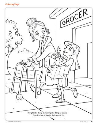 girl carrying groceries for elderly woman kids coloring pagescoloring - Choose The Right Coloring Page