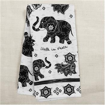 BOHO BLACK AND WHITE TEA TOWEL ELEPHANT (S17)