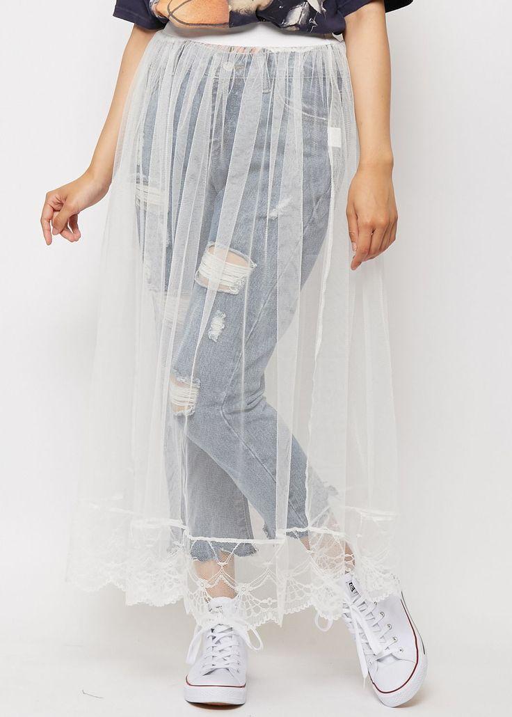 【37%OFF】チュール透けスカート ロング