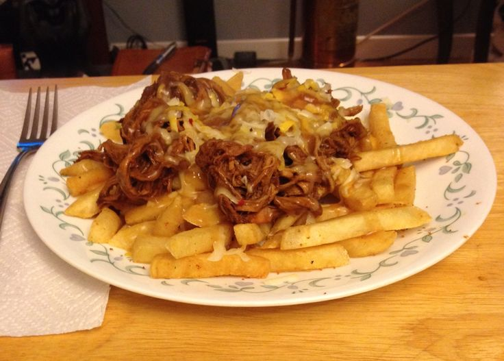 Dirty Fries! Rob's awesome pulled pork with grated cheddar cheese and gravy on crispy fries:)