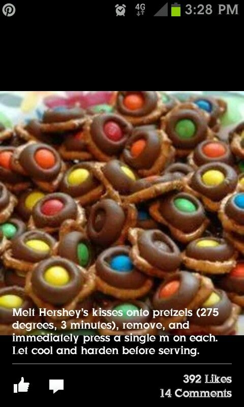 Mnms on Hershey's kisses on pretzels