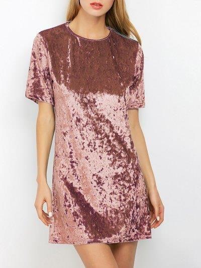 Turno de terciopelo arrugado de la túnica del mini vestido